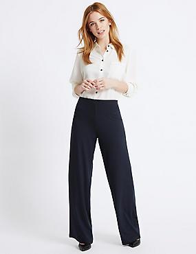 PETITE Wide Leg Trousers, NAVY, catlanding