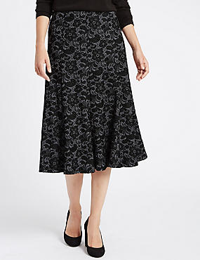 Tailored Fit Lace Flock Midi Skirt