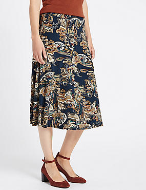 Tailored Fit Paisley Print A-Line Skirt