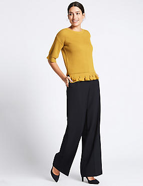 Double Button Wide Leg Trousers