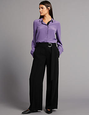 Belt Detail Wide Leg Trousers