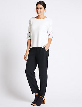 Drawstring Tapered Leg Trousers