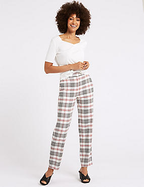 Relaxed Straight Leg Checked Trousers, IVORY MIX, catlanding