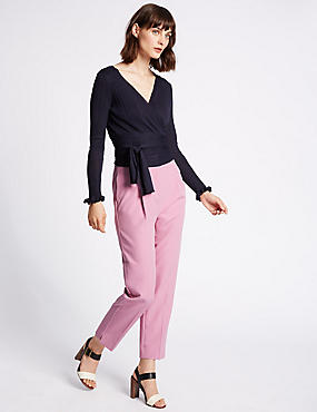 Pleated Tapered Leg Trousers