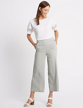 Linen Rich Cropped Wide Leg Trousers