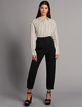 Pure Cotton Cuffed Hem Tapered Leg Trousers