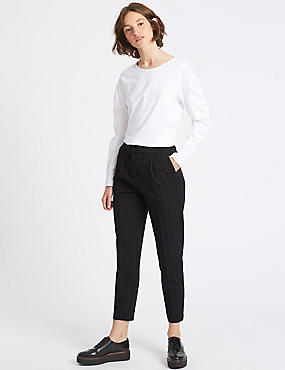 Striped Tapered Leg Trousers