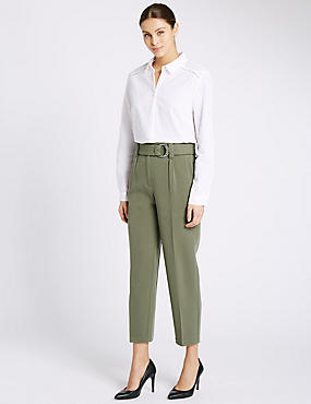 Pleated Belt Front Tapered Leg Trousers