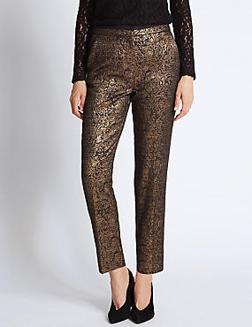 Gold Jacquard Print Tapered Leg Trousers
