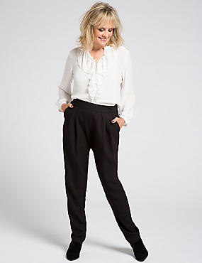 Crepe Tapered Leg Trousers