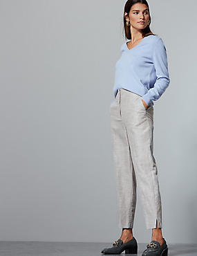 Cotton Rich Tapered Leg Peg Trousers , GREY, catlanding