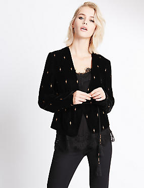 Tie Cord Embroidered Velvet Jacket