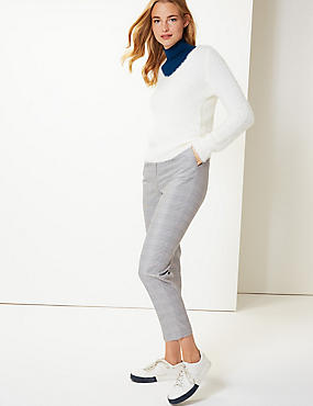 Checked Tapered Leg Peg Trousers, GREY MIX, catlanding