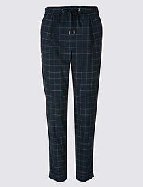 Drawstring Checked Tapered Leg Trousers