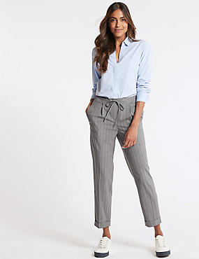 Drawstring Striped Tapered Leg Trousers, GREY MIX, catlanding