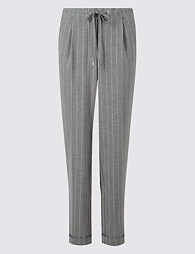 Drawstring Striped Tapered Leg Trousers
