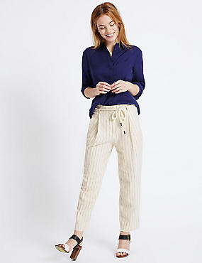 PETITE Linen Rich Tapered Leg Trousers