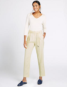 Linen Rich Striped Tapered Leg Trousers