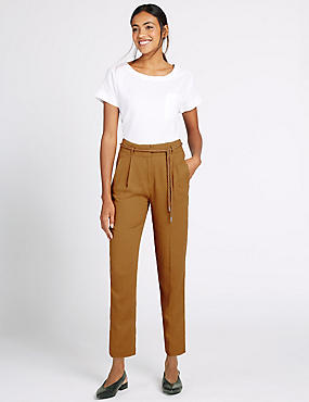 Linen Rich Belted Tapered Leg Trousers