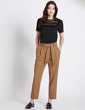 Cotton Blend Belted Tapered Leg Trousers