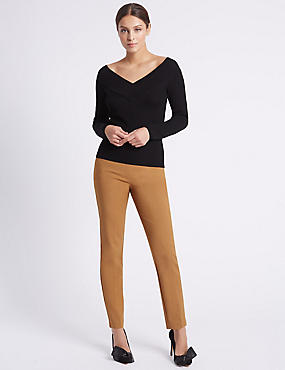 Cotton Blend Slim Leg Trousers