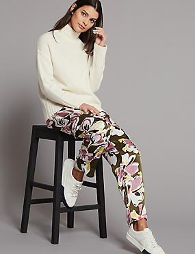 Floral Print Tapered Leg Trousers , MAGENTA MIX, catlanding