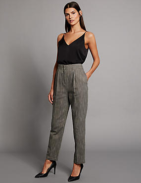 Cotton Rich Textured Tapered Leg Trousers