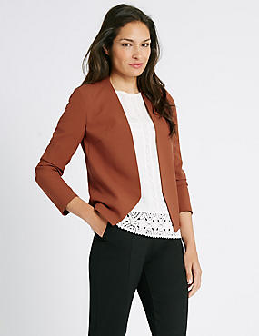 Collarless Open Front Tailored Jacket