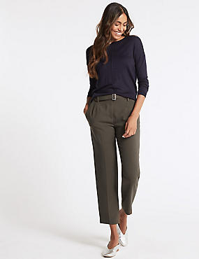 Belted Texture Tapered Leg Trousers