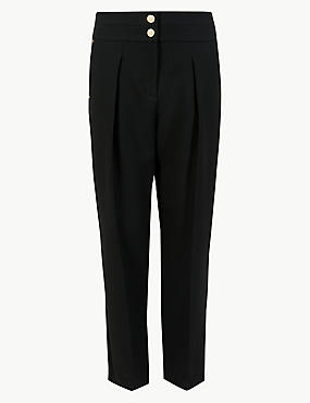 Tapered Leg Crepe Trousers, , catlanding