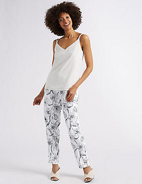 Floral Print Crepe Tapered Leg Trousers