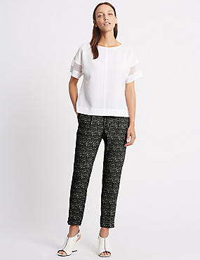 Tie Waist Textured Tapered Leg Trousers