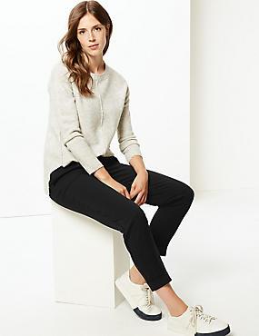 Drawstring Pleated Tapered Leg Trousers, BLACK, catlanding