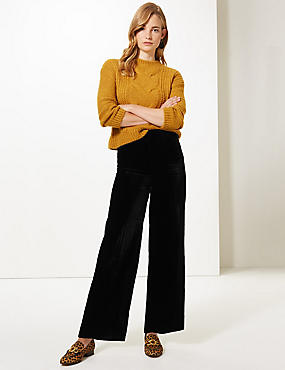 Textured Wide Leg Trousers, BLACK, catlanding