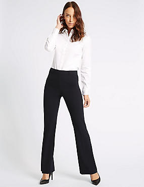 4 Way Stretch Slim Bootcut Trousers, NAVY, catlanding