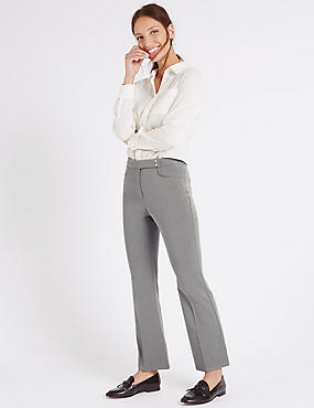 Popper Detail Slim Bootcut Trousers