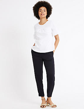 Drawstring Crepe Tapered Leg Trousers