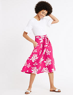 Floral Print Tie Front A-Line Midi Skirt