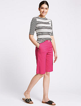 Cotton Blend Tailored Shorts, BRIGHT PINK, catlanding