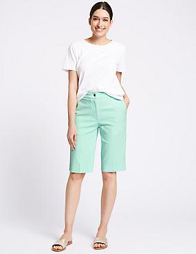 Cotton Blend Tailored Shorts, MEDIUM SEAFOAM, catlanding