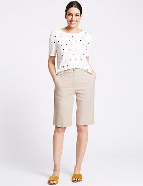 Cotton Blend Tailored Shorts, OATMEAL, catlanding