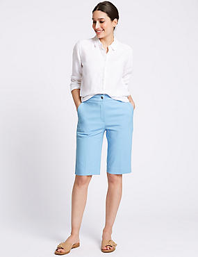 Cotton Blend Tailored Shorts, LIGHT OCEAN, catlanding