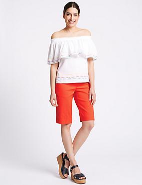 Cotton Blend Tailored Shorts, BRIGHT ORANGE, catlanding