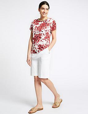 Cotton Blend Tailored Shorts, SOFT WHITE, catlanding