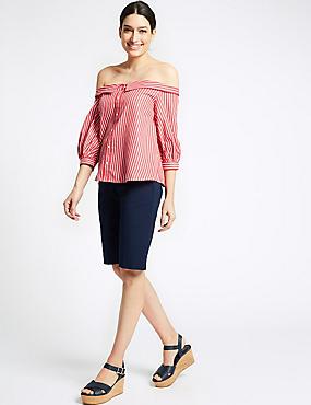 Cotton Blend Tailored Shorts, DARK MIDNIGHT, catlanding