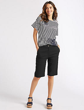 Cotton Blend Tailored Shorts, BLACK, catlanding