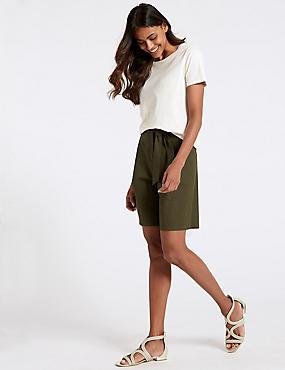 Cotton Rich Tailored Shorts , DARK OLIVE, catlanding