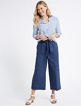 Linen Blend Checked Cropped Trousers , NAVY, catlanding