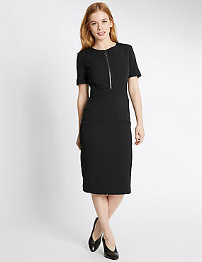 PETITE Zipped Short Sleeve Shift Dress