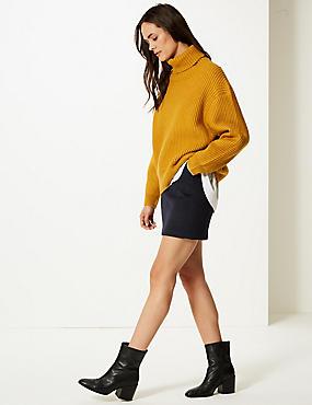 Wool Blend A-Line Mini Skirt, NAVY, catlanding